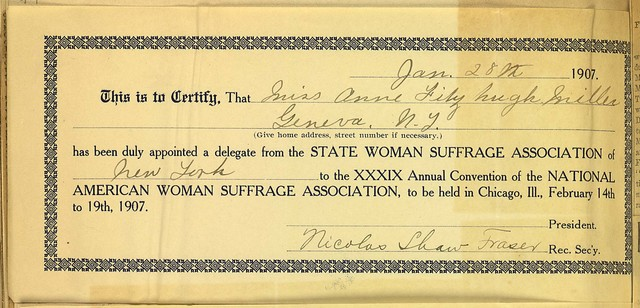 National American Woman Suffrage Association Convention Delegate Certification for Anne F. Miller