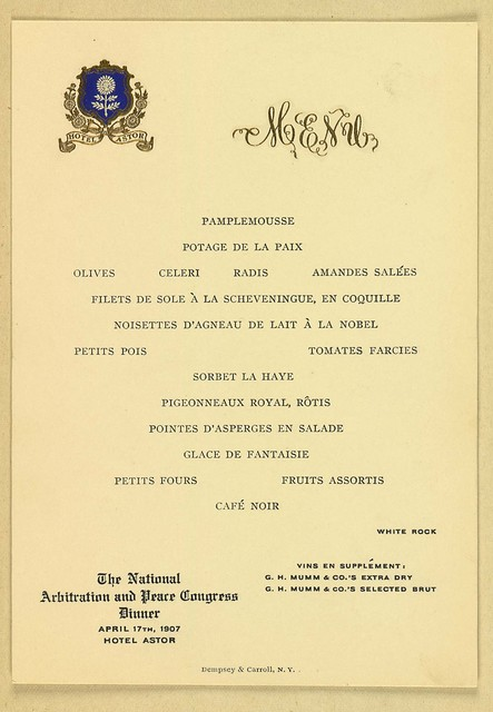 National Arbitration and Peace Congress Dinner Menu, Hotel Astor, New York City