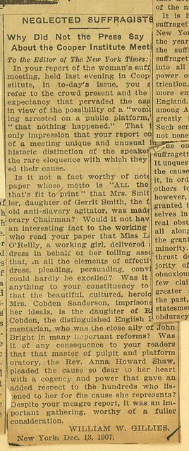 Neglected Suffragists: William W. Gilles Letter to Editor, New York Times