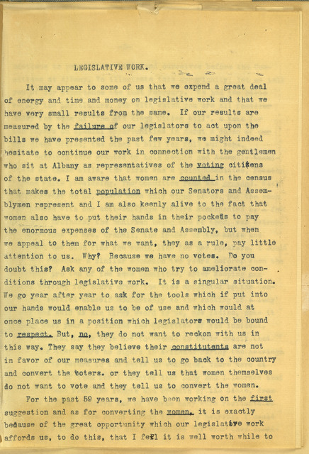 New York State Woman Suffrage Association Legislative Work, comments by Anne Fitzhugh Miller