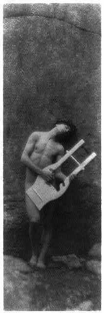 [Nude youth with laurel wreath and lyre (Orpheus)(cropped)]