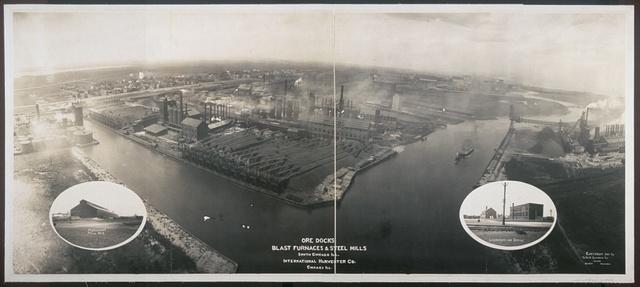 Ore docks, blast furnaces & steel mills, South Chicago, Ill., International Harvester Co., Chicago, Ill.