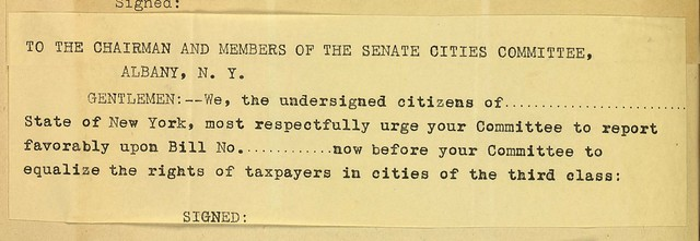 Petition to the Chairman and Members of the Senate Cities Committee