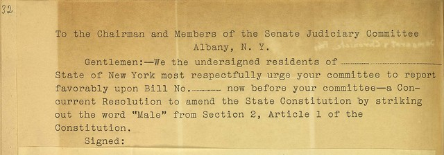Petition to the Chairman and Members of the Senate Judiciary Committee to support suffrage amendment