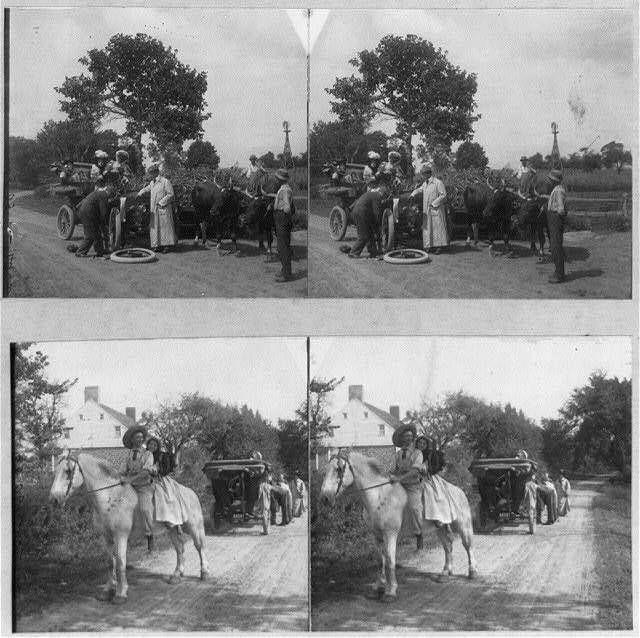 Photos of 2 full stereos: Top - Man changing tire, as others watch; 2 oxen alongside; Bottom - Couple on horse, with auto broken down behind them