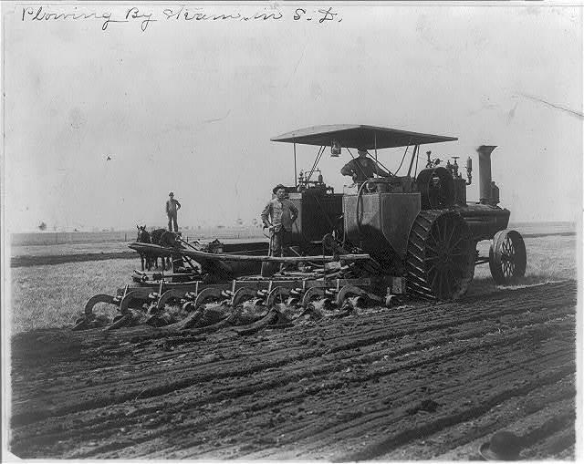 Plowing by steam in South Dakota