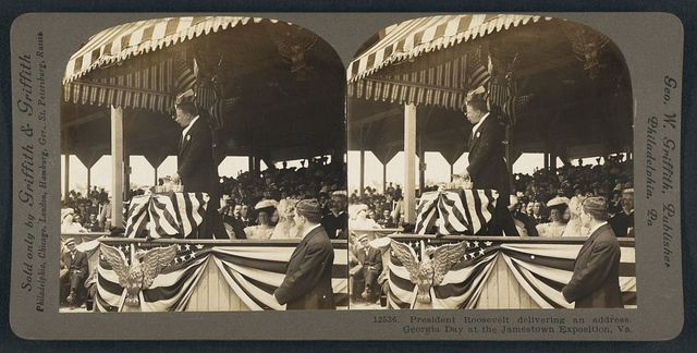 President Roosevelt delivering an address. Georgia Day at the Jamestown Exposition, Va.