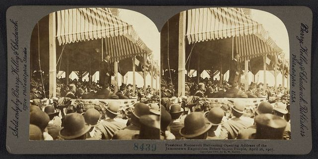 President  Roosevelt delivering opening address of the Jamestown Exposition before 60,000 people, April 26, 1907