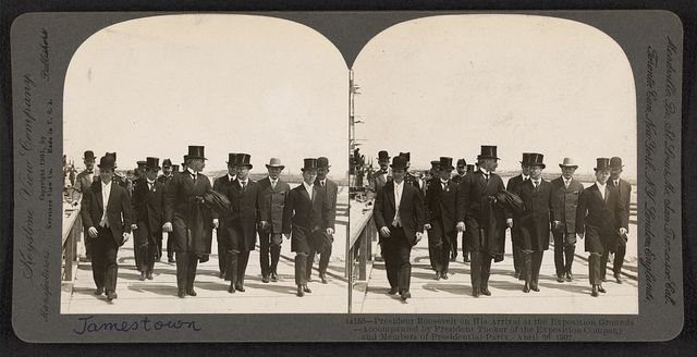 President Roosevelt on his arrival at the Exposition grounds - accompanied by President Tucker of the Exposition Company and members of the presidential party, April 26, 1907