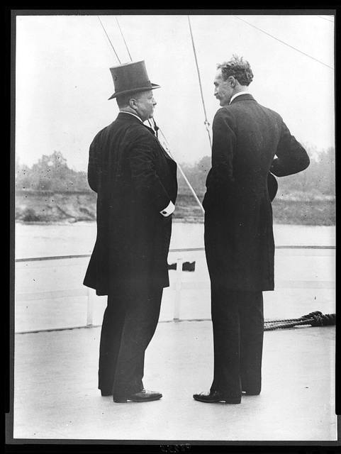 President Theodore Roosevelt and Chief Forester Gifford Pinchot -- T.R. and G.P. -- on the river steamer Mississippi This picture was taken on the trip of the Inland Waterways Commission down the Mississippi River in October 1907.