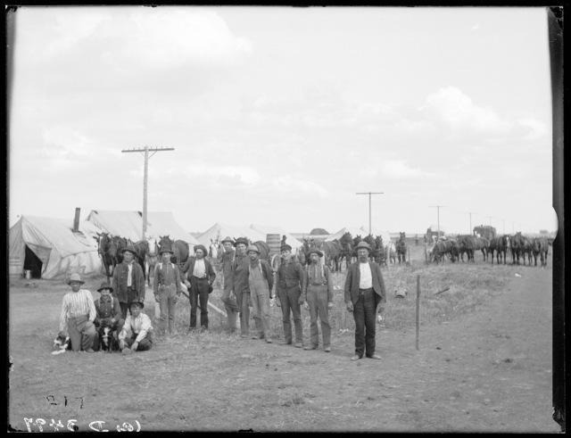 Romain railroad camp below Buda, Buffalo County, Nebraska, laying double track for the Union Pacific Railroad