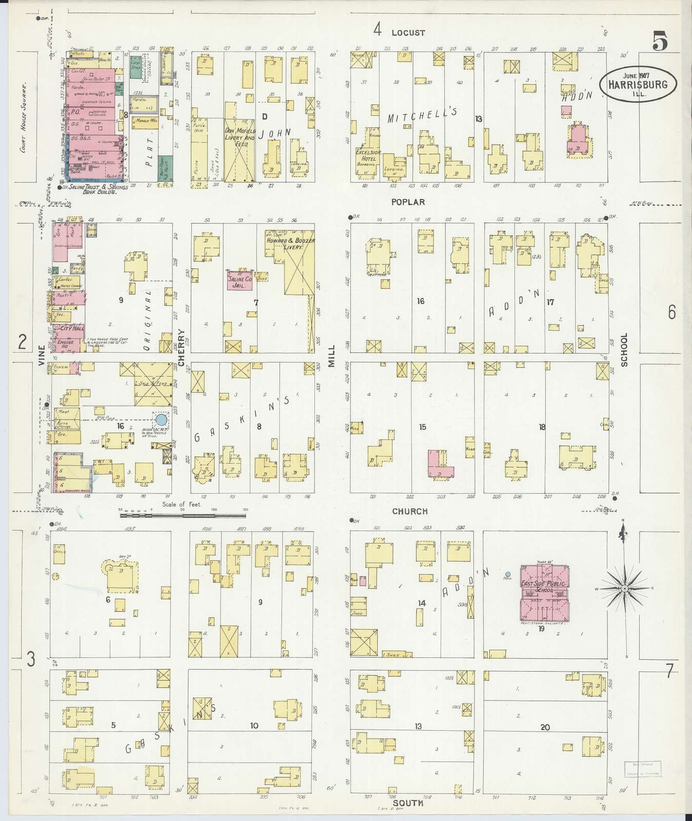 Sanborn Fire Insurance Map from Harrisburg, Saline County, Illinois