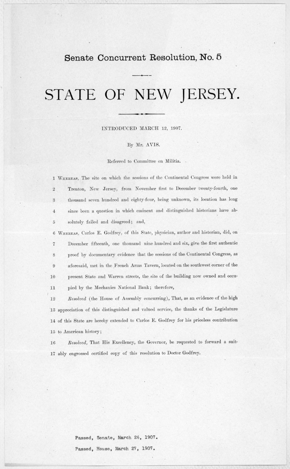 Senate concurrent resolution, No. 5. State of New Jersey. Introduced March 12, 1907. By Mr. Avis. Referred to Committee on Militia.