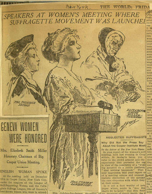 Speakers at Women's Meeting. December 12, 1907, Drawing of Maud (Mrs. Frederick) Nathan, Anne Cobden Sanderson and Elizabeth Smith Miller