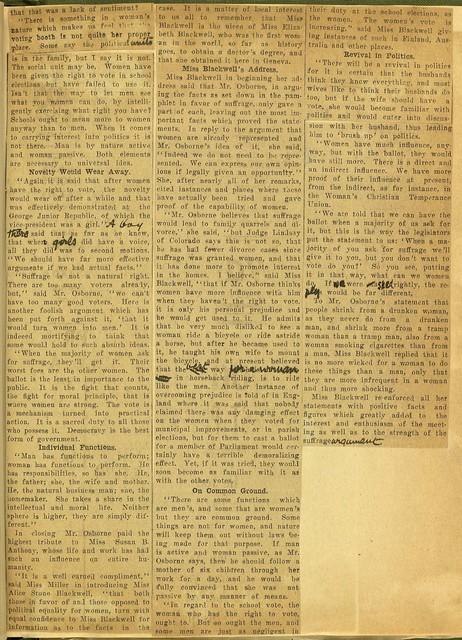 Spirited Suffrage Debate at Geneva Political Equality Club meeting Y. M. C. A.
