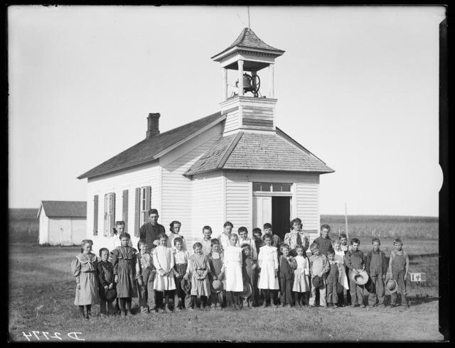 Students and teachers in front of Amherst School, Buffalo County, Nebraska.
