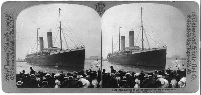 The arrival of a great ocean steamship at New York