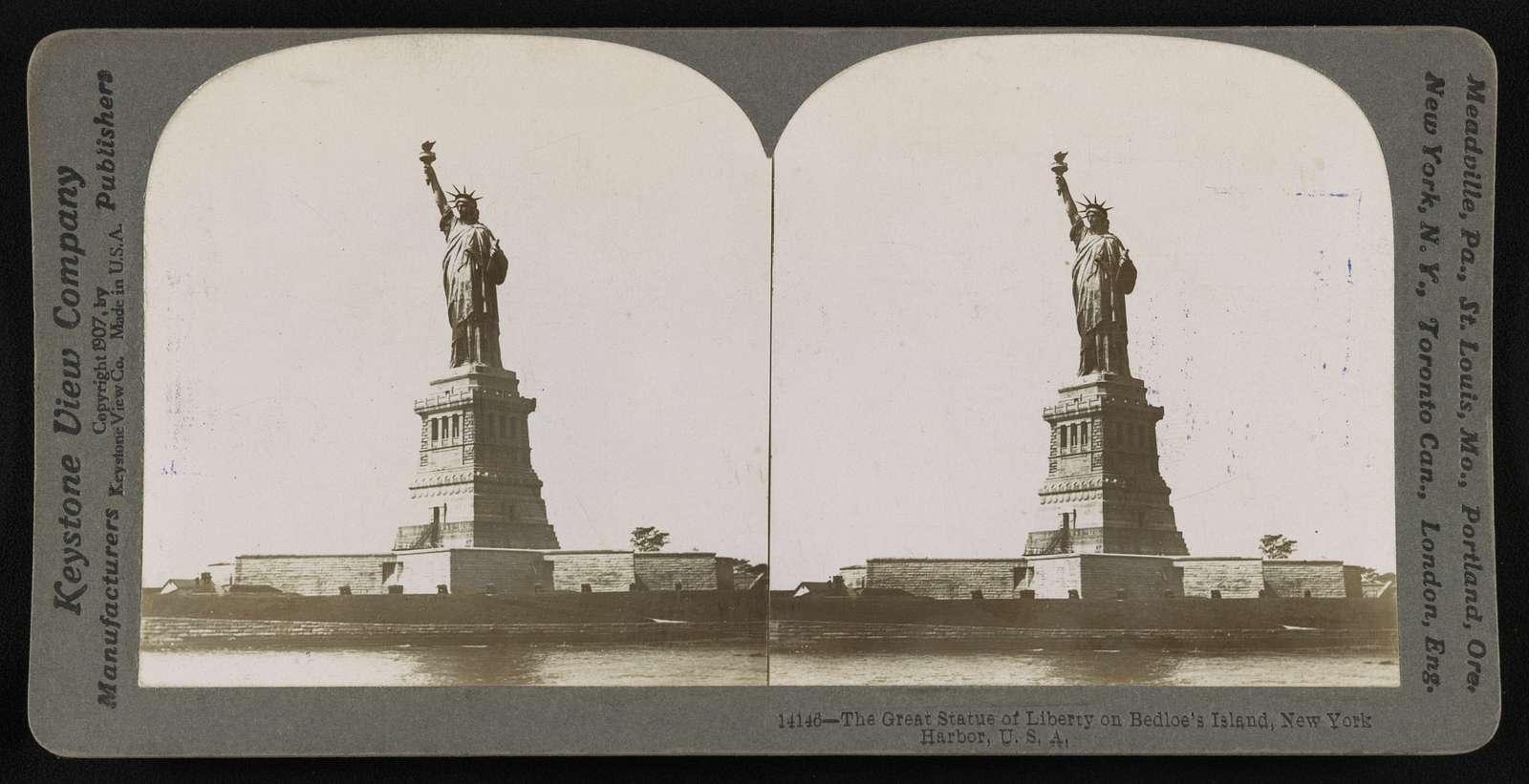 The great Statue of Liberty on Bedloe's Island, New York Harbor, U.S.A