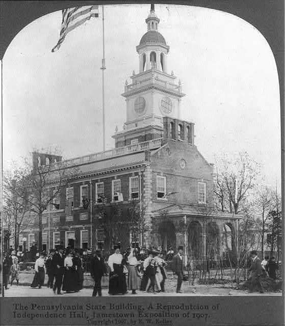 The Pennsylvania State Building, a reproduction of Independence Hall, Jamestown Exposition of 1907, Norfolk, Va.