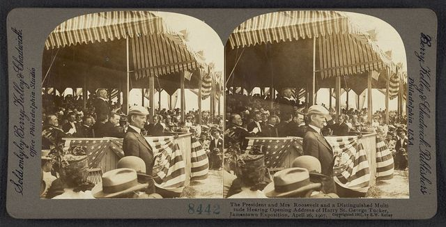 The President and Mrs. Roosevelt and a distinguished multitude hearing opening address of Harry St. George Tucker, Jamestown Exposition, April 26, 1907