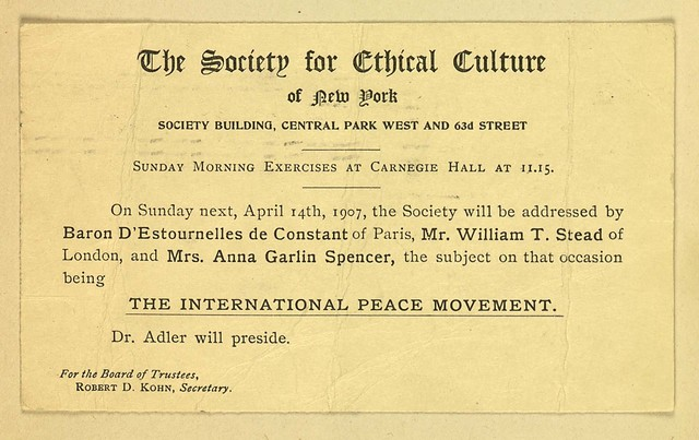 The Society for Ethical Culture Meeting on International Peace Movement
