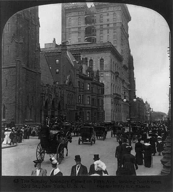 The Sunday noonday crowd on Fifth Ave., looking north from 53rd St., New York