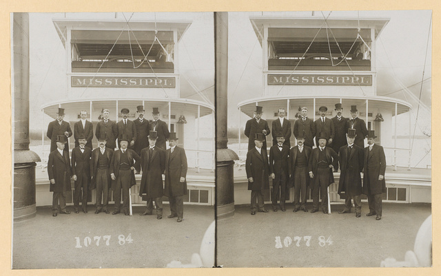"""[Theodore Roosevelt in group portrait on the ship """"Mississippi""""]"""