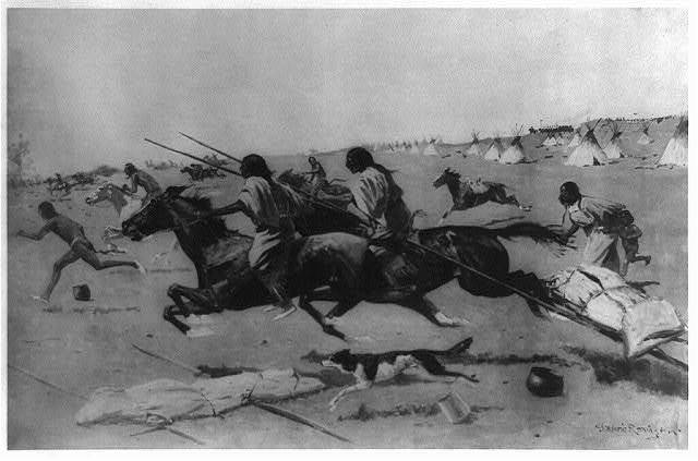 [Troops surprising a camp] / Frederic Remington.