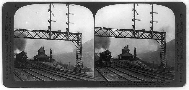 Two track levels of P.R.R. on the horseshoe curve, train rounding curve in distance 1 mile away, 100 ft. higher, Pa., U.S.A.