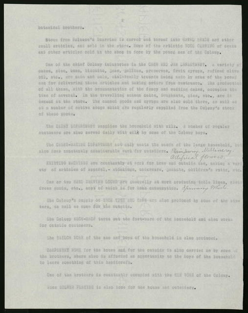 """Typed document """"The Chief Industries of the American Colony, Jerusalem, at the Present Time"""""""