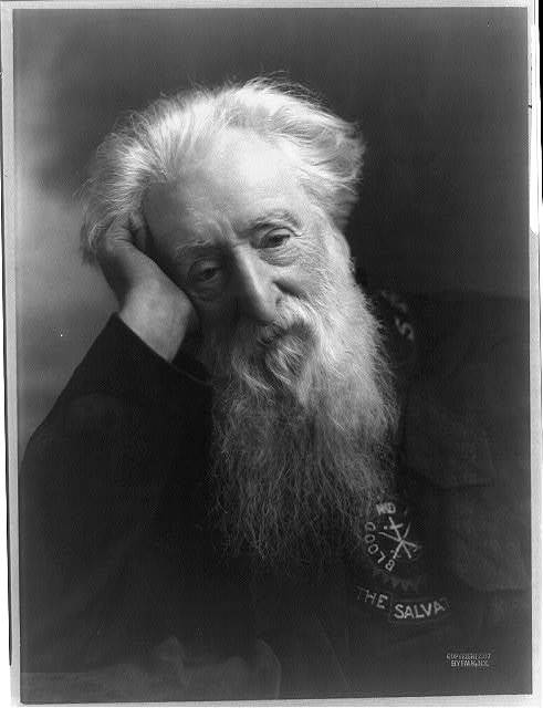 [William Booth, half-length portrait, facing front; head resting on right hand; wearing Salvation Army uniform]