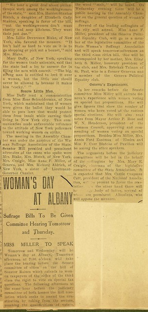 Woman's Day at Albany; Committee Hearings on Suffrage Bills