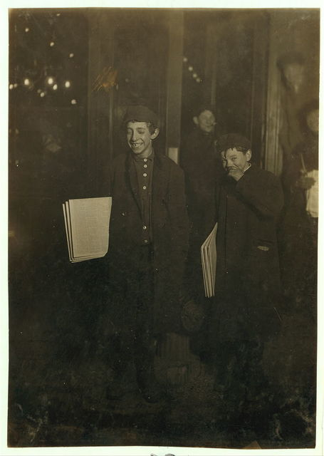 1 A.M. near the World Building, ready to start out. Two of the sleepers (See No. 21[A]) Larger boy Abraham Jachnes, 13 years old. Newsboys Lodging House, 14 Chambers St. Has not been home for 6 months because step-mother has been trying to put him into a House of Refuge. Could not get name of smaller boy, but he was younger, probably 11 years old. These boys are hanging about and snatching and occasional sleep in sheltered spots.  Location: New York, New York (State)