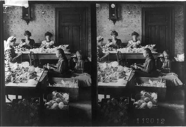 [5 girls making ornaments in tenement]