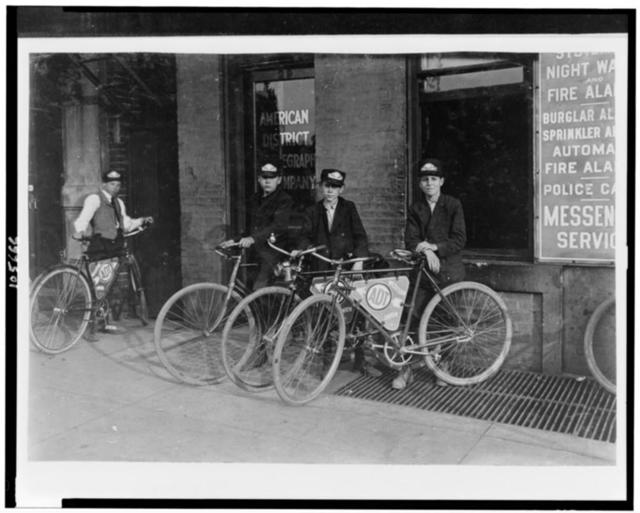 A. D. T. Messengers, Indianapolis. Aug., 1908.  Location: Indianapolis, Indiana.