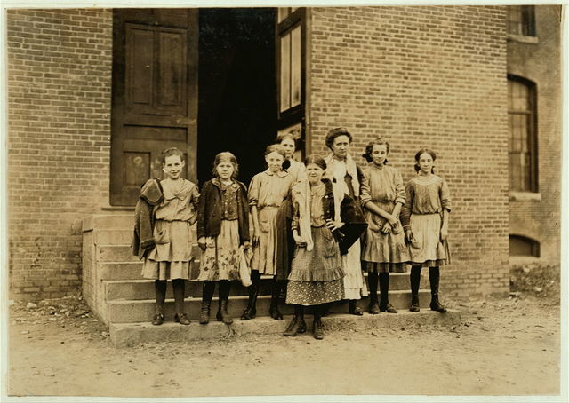 A few of the girls going home from Loray mill, Gastonia, N.C. Many others younger.  Location: Gastonia, North Carolina.