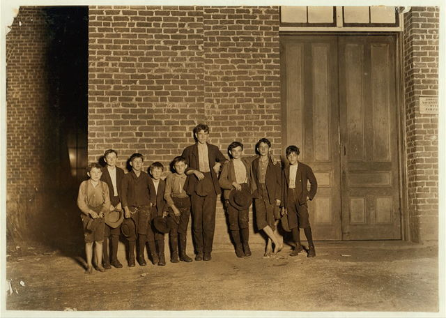 A few of the youngsters employed in Clinton Mills (S.C.) Going home from work.  Location: Clinton, South Carolina.