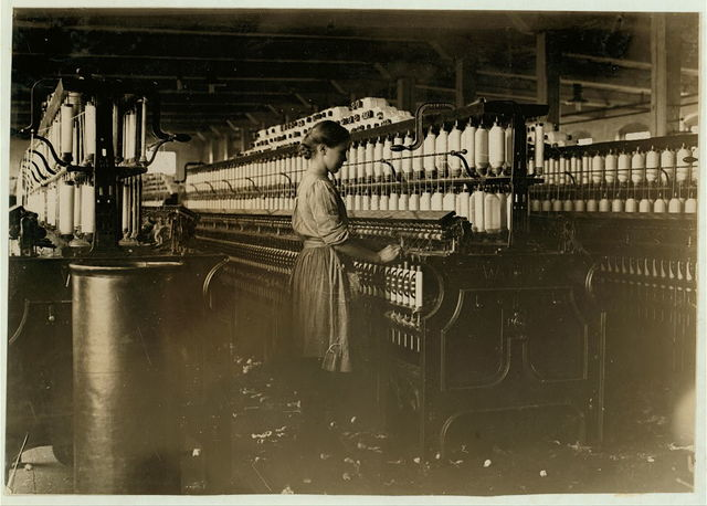 A spinner in Clyde Cotton Mill, Newton, N.C.  Location: Newton, North Carolina / Photo by Lewis W. Hine.
