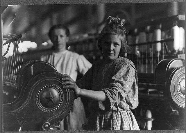 A typical Spinner Lancaster Cotton Mills, S.C.  Location: Lancaster, South Carolina / Photo by Lewis W. Hine.