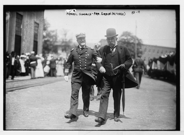 """Admiral Goodrich and Admiral Erben (retired) at launching of """"Vestal"""", Brooklyn, N.Y."""