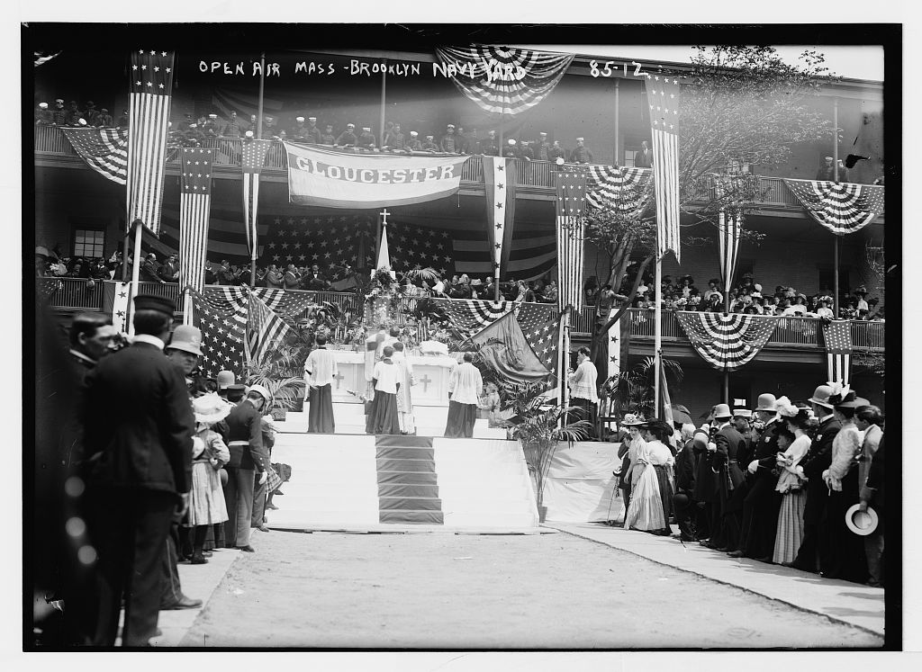 Altar at open-air Mass in Brooklyn Navy Yard, New York
