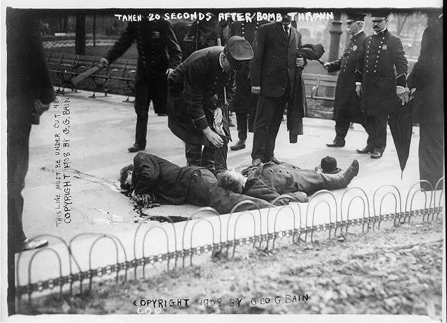 [Anarchists - casualties of anarchist riot, Union Square] Taken 20 seconds after bomb thrown.