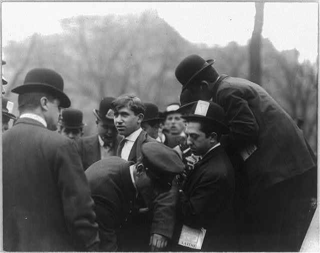 Anarchists - Police searching Max Dolinger after bomb throwing in Anarchist riot, Union Sq., New York