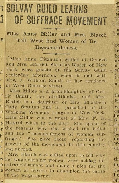 Anne Fitzhugh Miller and Harriot Stanton Blatch address Solvay Women's Guild, Syracuse