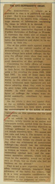 Anti-Suffragists' Organ critiques recent Remonstrance