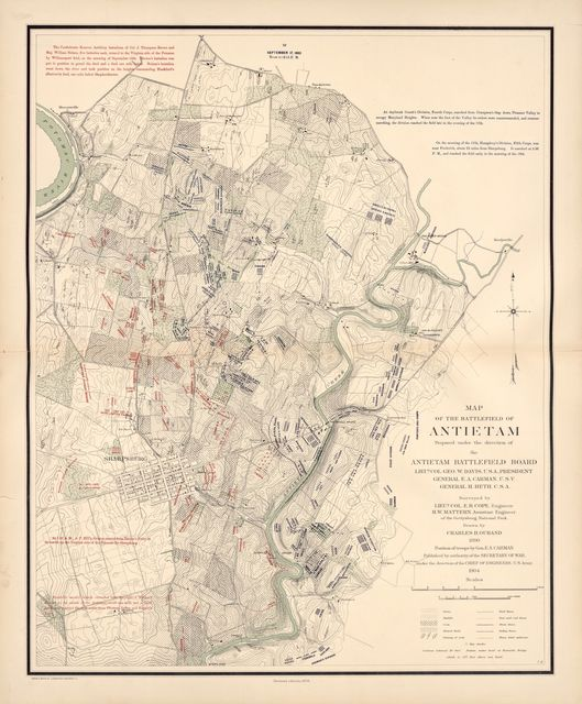 Atlas of the battlefield of Antietam, prepared under the direction of the Antietam Battlefield Board, lieut. col. Geo. W. Davis, U.S.A., president, gen. E.A. Carman, U.S.V., gen. H Heth, C.S.A. Surveyed by lieut. col. E.B. Cope, engineer, H.W. Mattern, assistant engineer, of the Gettysburg National Park. Drawn by Charles H. Ourand, 1899. Position of troops by gen. E. A. Carman.  Published by authority of the Secretary of War, under the direction of the Chief of Engineers, U.S. Army, 1908.