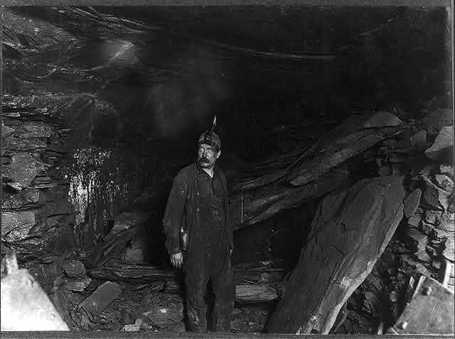 Bank Boss, Turkey Knob Mine, Macdonald, W. Va., and a great fall of Slate that blocked entry. Witness E. N. Clopper.  Location: MacDonald, West Virginia.