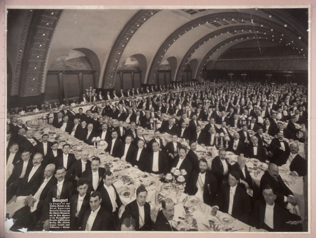 Banquet in honor of the Visiting Prelates to the First American Catholic Congress, Sir Charles Fitzpatrick and the New Members of the Fourth Degree Knights of Columbus, Sunday, Nov. fifteenth, nineteen hundred-eight, Auditorium: Chicago
