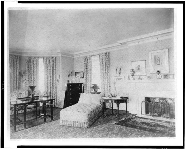 [Bedroom with fireplace, and padded chaise longue, in home of Edmund Cogswell Converse, Greenwich, Connecticut]
