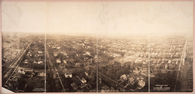 Birds eye view of La Grange, Ill. from Lawrence Captive Airship at 800 ft. elevation